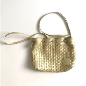 VTG small cross body leather woven white gold 90s